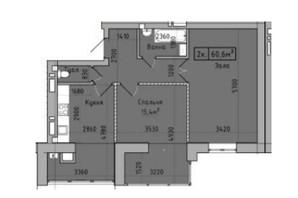 ЖК Центральный: планировка 2-комнатной квартиры 61 м²