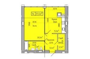 ЖК Центральный: планировка 1-комнатной квартиры 51.4 м²