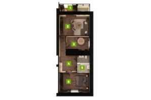 ЖК Центральний: планування 2-кімнатної квартири 77.2 м²