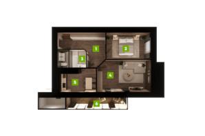 ЖК Центральний: планування 2-кімнатної квартири 78 м²