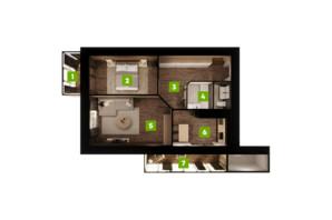 ЖК Центральный: планировка 2-комнатной квартиры 79.9 м²