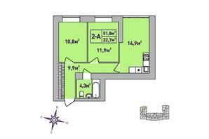 ЖК Центральний Premium: планування 2-кімнатної квартири 51.8 м²