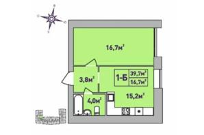 ЖК Центральний Premium: планування 1-кімнатної квартири 39.7 м²