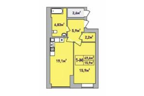 ЖК Центральний Premium: планування 1-кімнатної квартири 49.6 м²