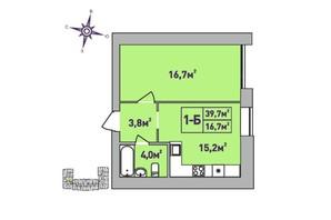 ЖК Центральный Premium: планировка 1-комнатной квартиры 39.7 м²