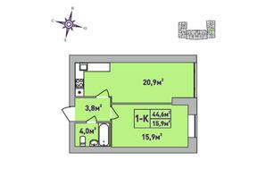 ЖК Центральный Premium: планировка 1-комнатной квартиры 44.6 м²