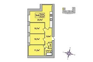 ЖК Центральный Premium: планировка 3-комнатной квартиры 70.2 м²