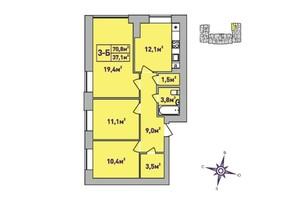 ЖК Центральный Premium: планировка 3-комнатной квартиры 70.8 м²