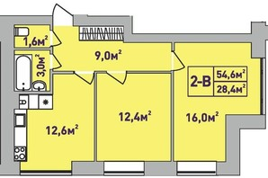ЖК Центральный Premium: планировка 2-комнатной квартиры 54.6 м²