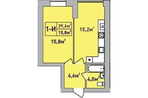 ЖК Центральный Premium: планировка 1-комнатной квартиры 39 м²