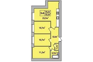 ЖК Центральный Premium: планировка 3-комнатной квартиры 70 м²
