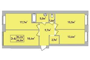 ЖК Центральный Premium: планировка 3-комнатной квартиры 84.2 м²