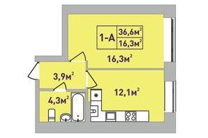 ЖК Центральный Premium: планировка 1-комнатной квартиры 37 м²