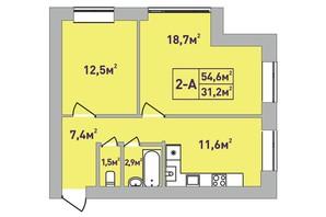 ЖК Центральный Premium: планировка 2-комнатной квартиры 54 м²