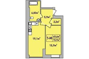 ЖК Центральный Premium: планировка 1-комнатной квартиры 49.6 м²