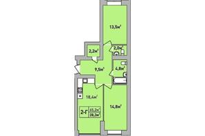 ЖК Центральный Premium: планировка 2-комнатной квартиры 65.2 м²