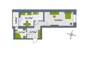 ЖК Центральный: планировка 1-комнатной квартиры 52.31 м²