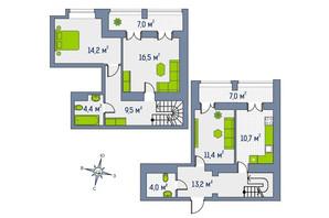 ЖК Центральный: планировка 3-комнатной квартиры 102.3 м²