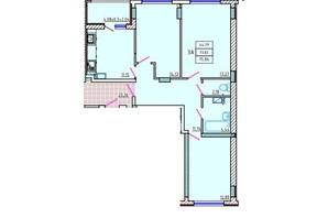 ЖК Цветной бульвар: планування 3-кімнатної квартири 75.86 м²