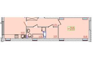 ЖК Цветной бульвар: планування 1-кімнатної квартири 41.57 м²