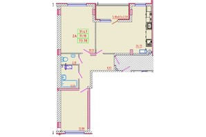 ЖК Цветной бульвар: планування 2-кімнатної квартири 73.78 м²
