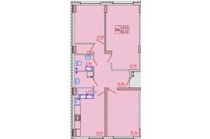 ЖК Цветной бульвар: планування 3-кімнатної квартири 82.3 м²