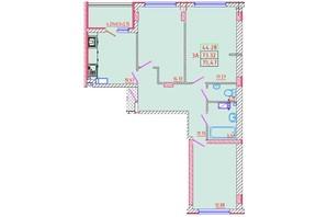 ЖК Цветной бульвар: планування 3-кімнатної квартири 75.47 м²