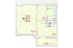 ЖК Цветной бульвар: планування 1-кімнатної квартири 33.32 м²