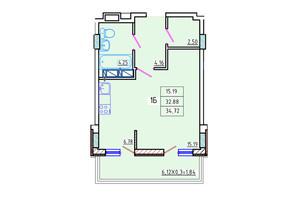 ЖК Цветной бульвар: планування 1-кімнатної квартири 34.72 м²