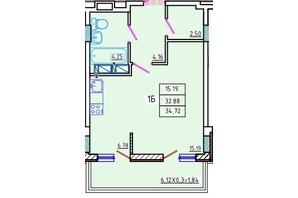 ЖК Цветной бульвар: планировка 1-комнатной квартиры 34.7 м²
