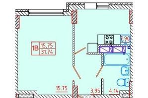 ЖК Цветной бульвар: планировка 1-комнатной квартиры 31.74 м²