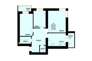 ЖК Цитадель-2: планування 3-кімнатної квартири 77.82 м²
