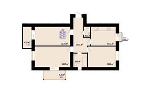 ЖК Цитадель-2: планировка 3-комнатной квартиры 82.77 м²
