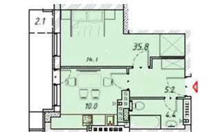 ЖК Цитадель: планировка 1-комнатной квартиры 35.8 м²