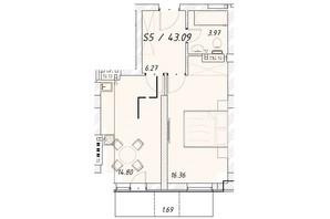 ЖК Цитадель: планировка 1-комнатной квартиры 43.1 м²