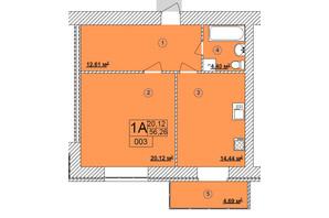 ЖК Turkish City: планування 1-кімнатної квартири 56.26 м²