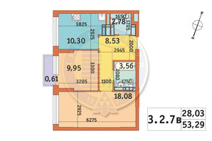 ЖК Twin House: планировка 2-комнатной квартиры 53.29 м²