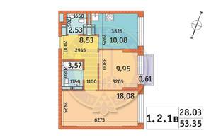 ЖК Twin House: планировка 2-комнатной квартиры 53.35 м²