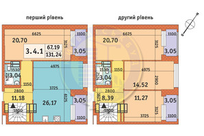 ЖК Twin House: планировка 4-комнатной квартиры 131.24 м²
