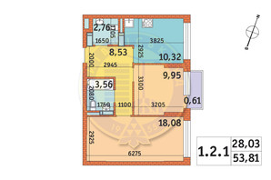 ЖК Twin House: планировка 2-комнатной квартиры 53.81 м²
