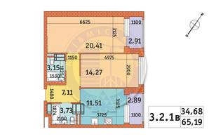 ЖК Twin House: планировка 2-комнатной квартиры 65.95 м²