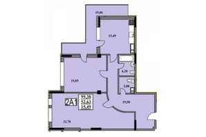 ЖК Тихий Центр: планировка 2-комнатной квартиры 99.6 м²