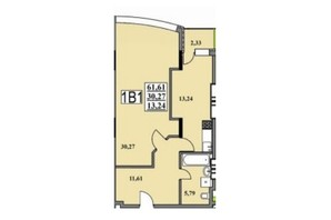 ЖК Тихий Центр: планування 1-кімнатної квартири 61.61 м²