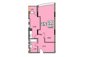 ЖК Тихий Центр: планування 1-кімнатної квартири 61.71 м²