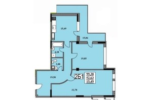 ЖК Тихий Центр: планування 2-кімнатної квартири 99.1 м²