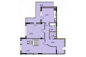 ЖК Тихий Центр: планування 2-кімнатної квартири 99.38 м²