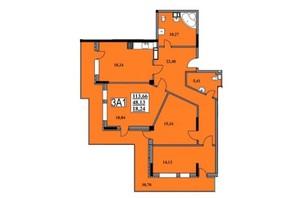 ЖК Тихий Центр: планування 3-кімнатної квартири 113.66 м²