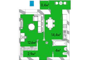 ЖК Уютный Двор: планировка 1-комнатной квартиры 38.8 м²