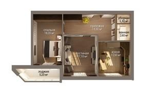 ЖК Уютный: планировка 2-комнатной квартиры 72.3 м²