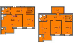 ЖК Уютный квартал: планировка 4-комнатной квартиры 110.72 м²